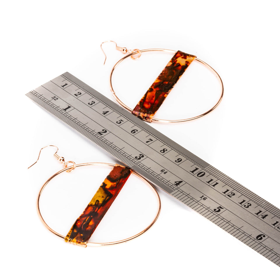 Large Fire Brushed Hippie Copper Hoop Earrings | Tinklet Jewelry Earring Tinklet