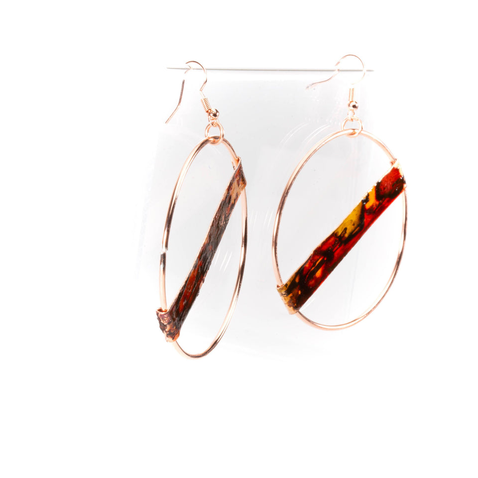 Large Fire Brushed Hippie Copper Hoop Earrings | Tinklet Jewelry Earring Tinklet Inked