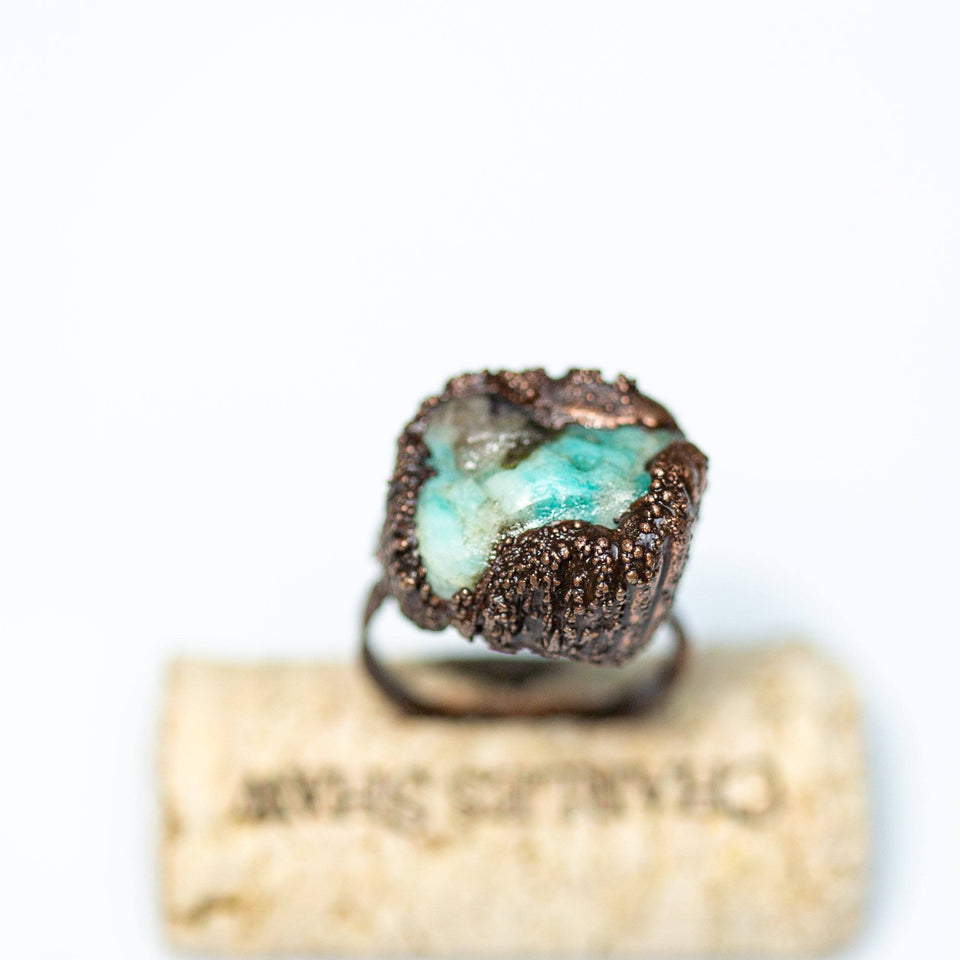 Ring - Blue Quartz Statement Ring, Natural Copper Gemstone Ring, Raw Chyrsocolia Copper Ring