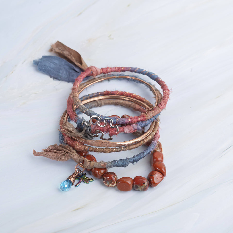 Stackable Silk and Copper Bangle Bracelets | Tinklet Jewelry Bracelet Tinklet