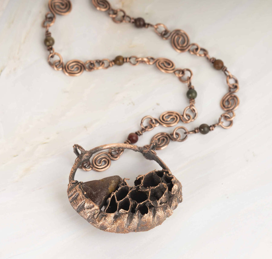 Electroformed Honeycomb and Amber Copper Pendant Necklace | Tinklet Jewelry necklace/pendant Tinklet