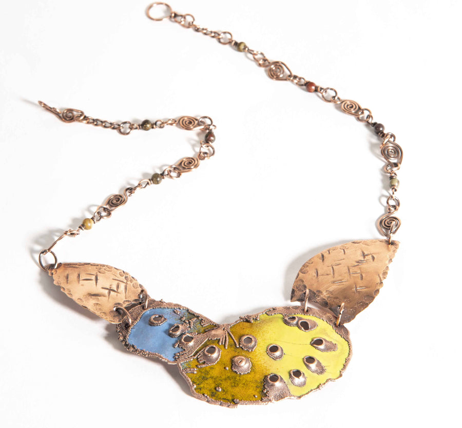 Geometric Enameled Copper Springtime Bib Necklace | Tinklet Jewelry necklace/pendant Tinklet