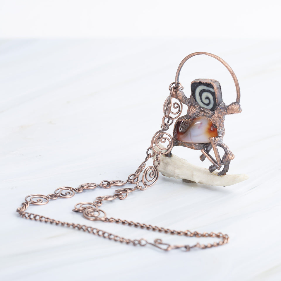 Orange Agate and Antler Copper Pendant Necklace | Tinklet Jewelry necklace/pendant Tinklet