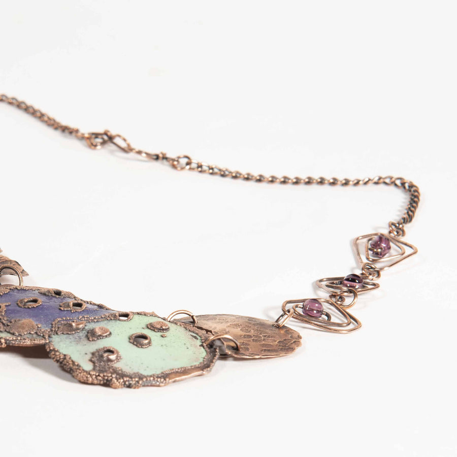 Colorful Enamel Copper Bib Style Necklace | Tinklet Jewelry necklace/pendant Tinklet