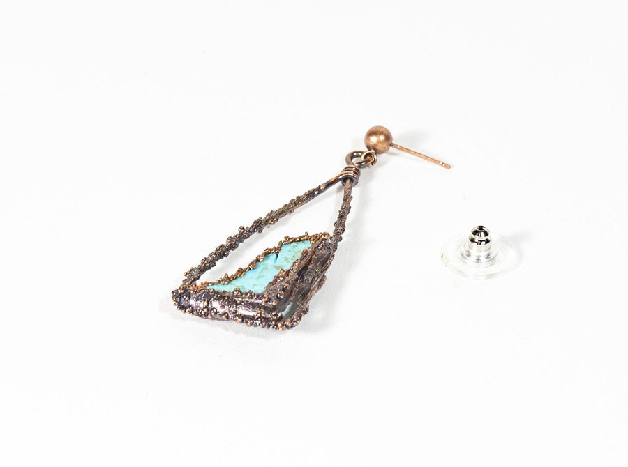 Turquoise and Copper Electroformed Earrings | Tinklet Jewelry Earring Tinklet