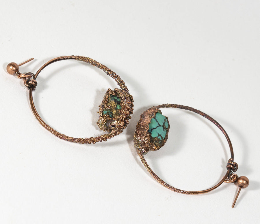 Turquoise Nugget and Copper Electroformed Hoop Earrings | Tinklet Jewelry Earring Tinklet