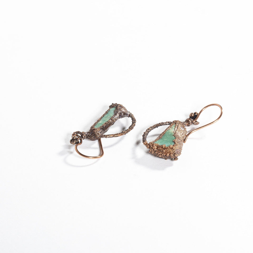Electroformed Turquoise and Copper Earrings | Tinklet Jewelry