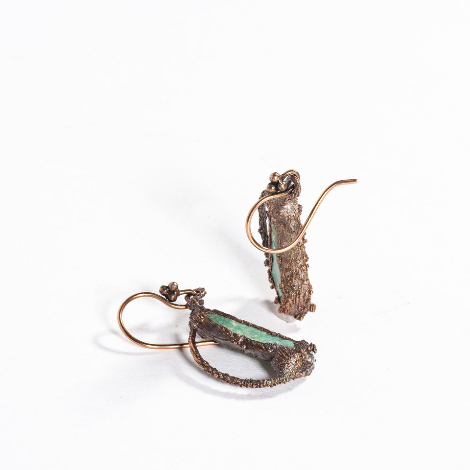 Electroformed Turquoise and Copper Earrings | Tinklet Jewelry Earring Tinklet