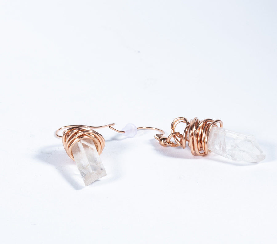 Quartz Point Crystal and Copper Earrings | Tinklet Jewelry Earring Tinklet