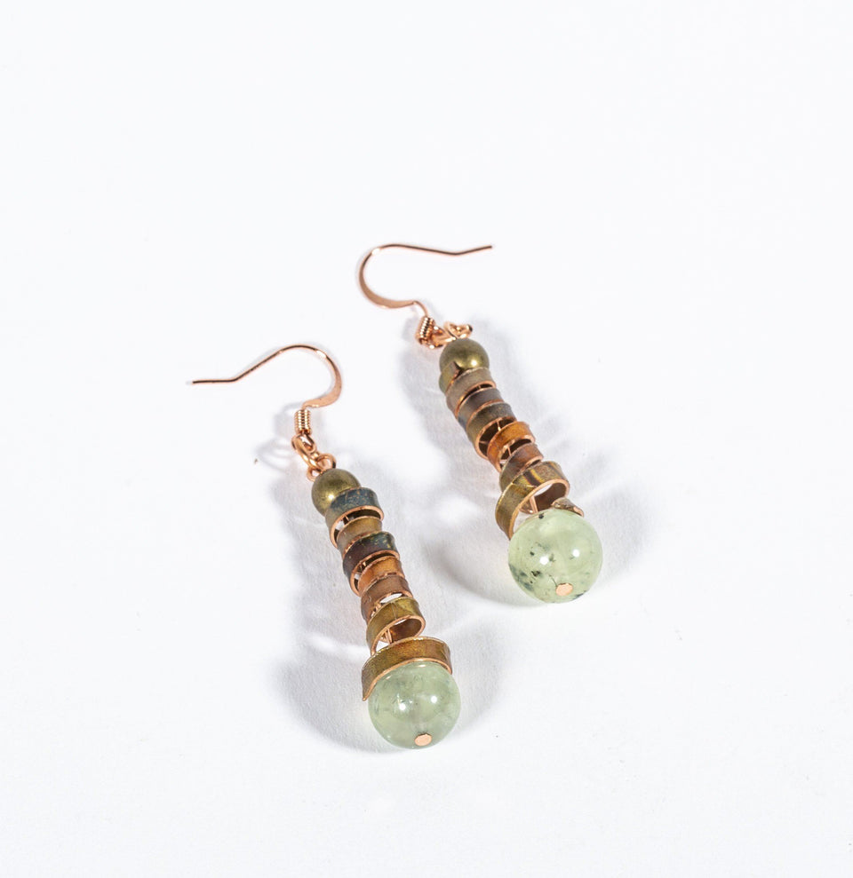 Flamed Copper and Peridot Beaded Earrings | Tinklet Jewelry