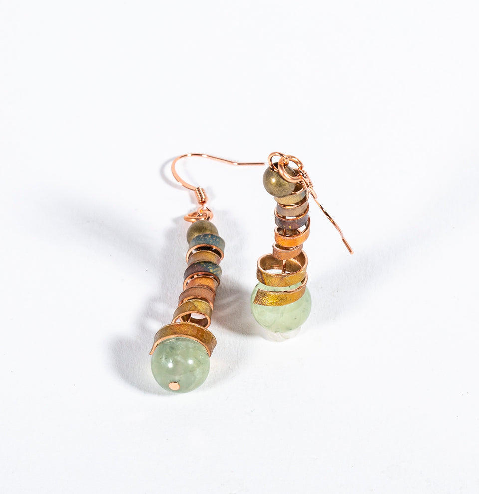 Flamed Copper and Peridot Beaded Earrings | Tinklet Jewelry Earring Tinklet