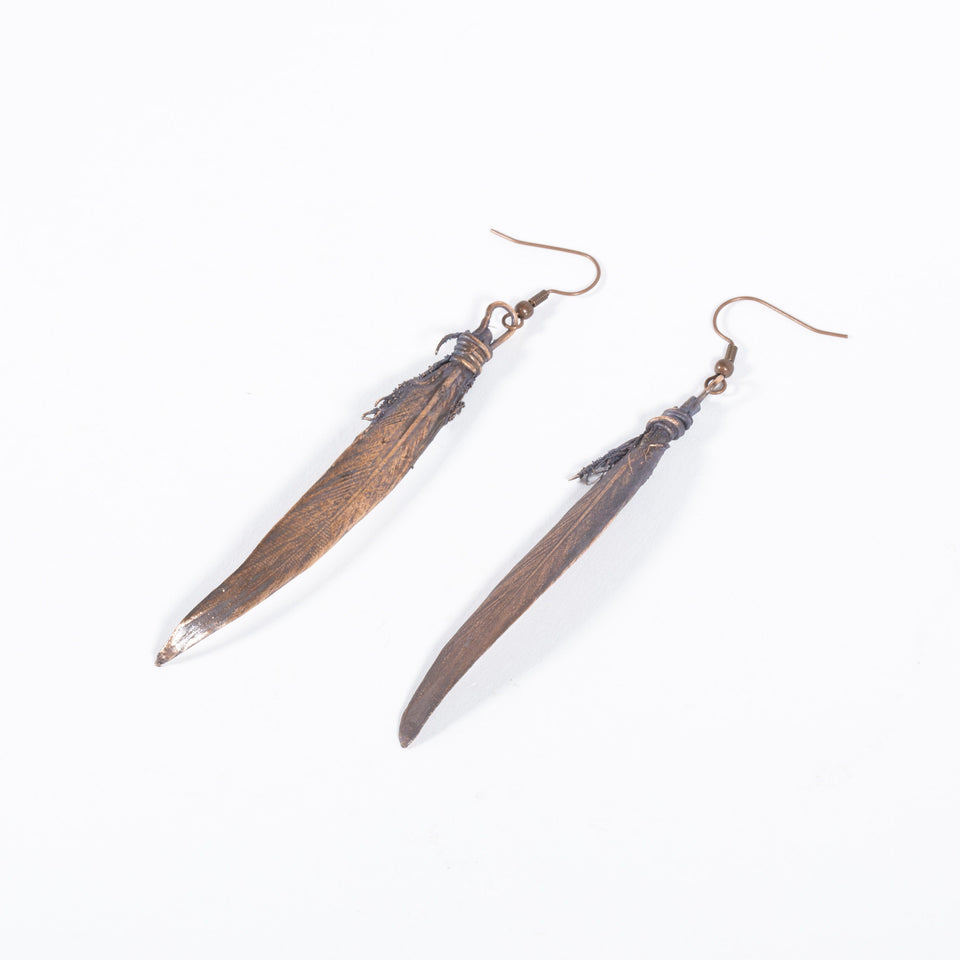 Copper Feather Earrings | Tinklet Jewelry