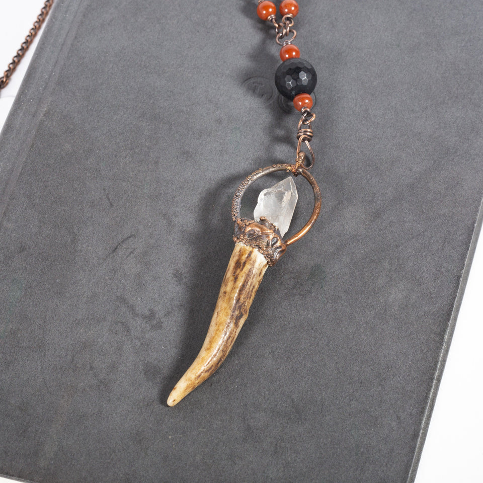 Antler Pendant Beaded with Black Onyx and Red Stone | Tinklet Jewelry