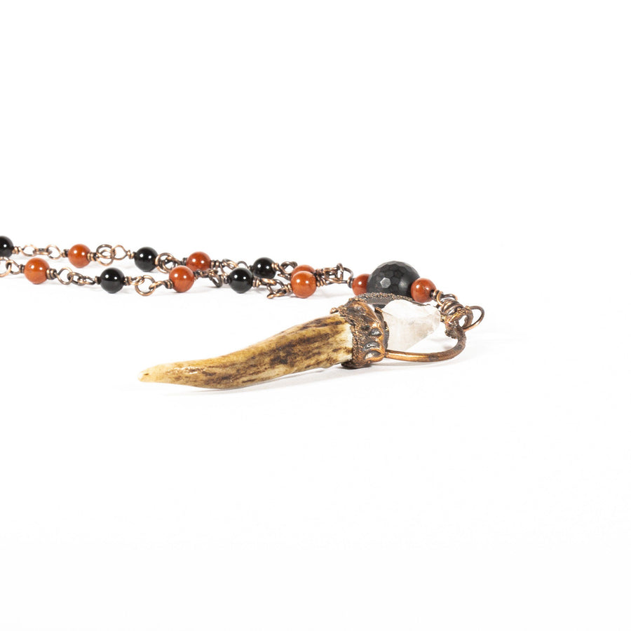 Antler Pendant Beaded with Black Onyx and Red Stone | Tinklet Jewelry necklace/pendant Tinklet