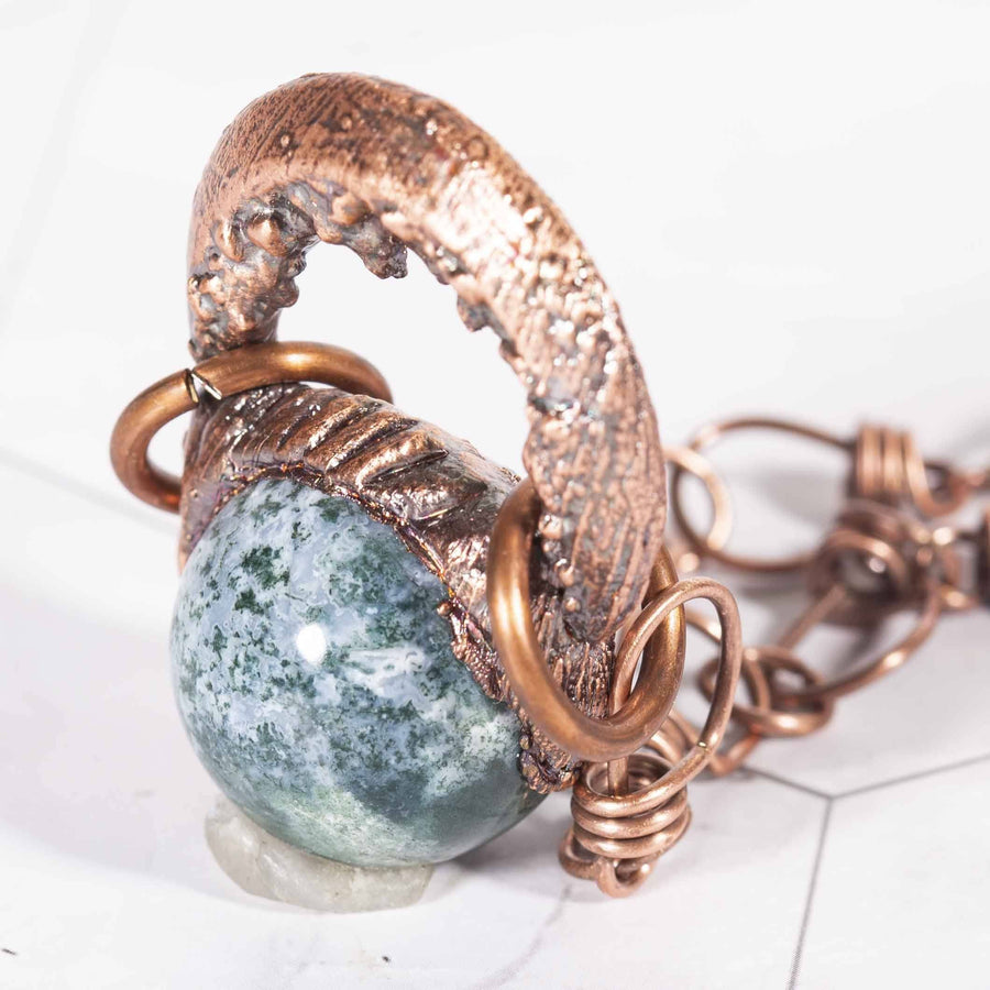 Smooth Moss Agate Electroformed Sphere Stone Pendant | Tinklet Jewelry necklace/pendant Tinklet