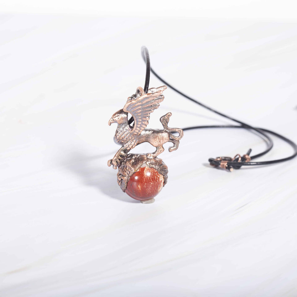 Griffin pendant with red jasper stone