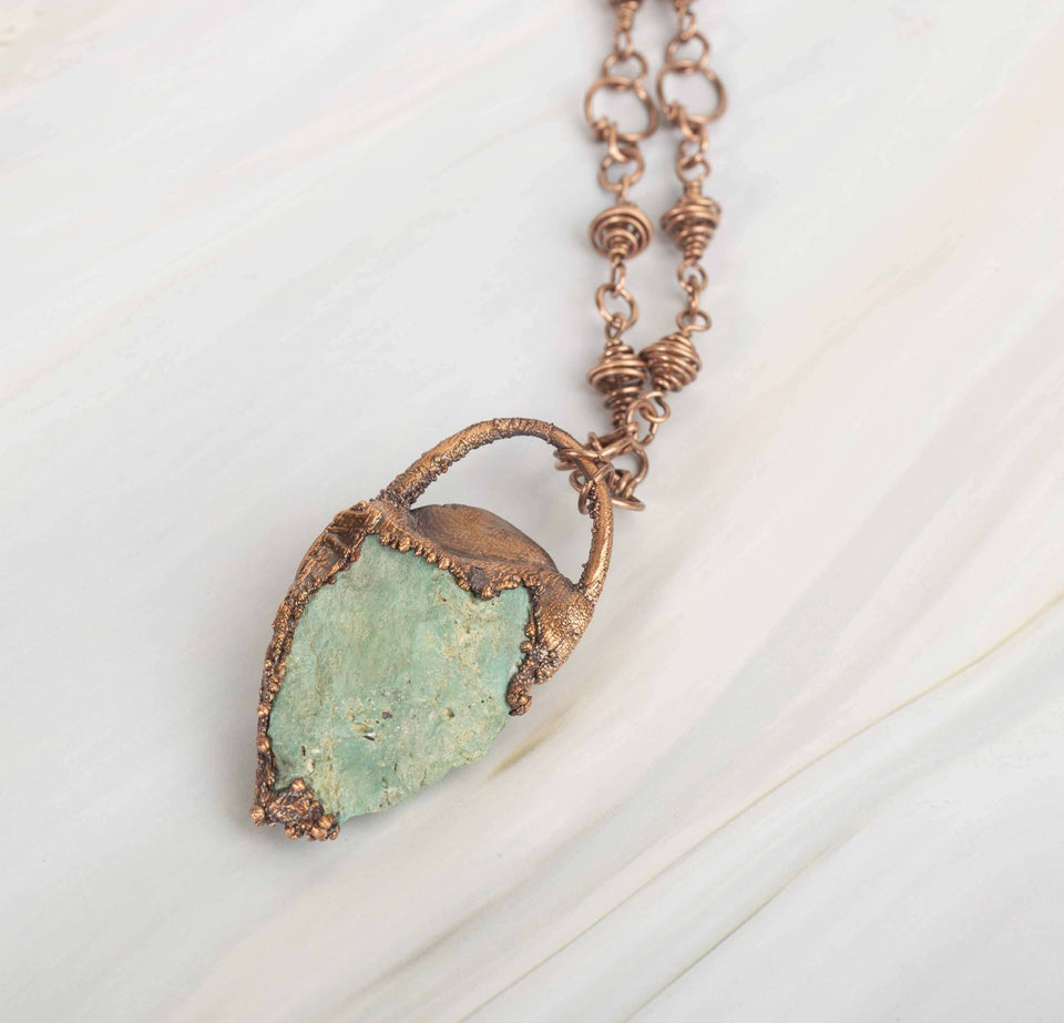 Pale Blue Turquoise Electroformed Copper Pendant | Tinklet Jewelry necklace/pendant Tinklet