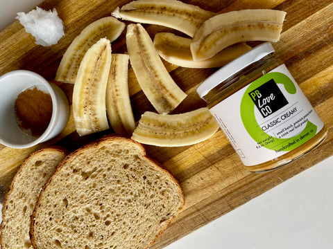 Caramelized Banana Sandwich with Crunchy Peanut Butter. Ingredients.