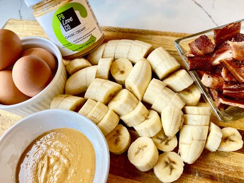 Peanut butter pancakes with PB Love Co. peanut butte. Three ingredients - peanut butter, eggs, and bananas.