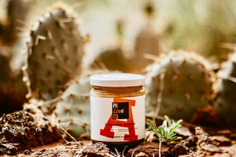 Cinnamon almond butter made in Denver, Colorado. Stone-ground almond butter by the PB Love Company.