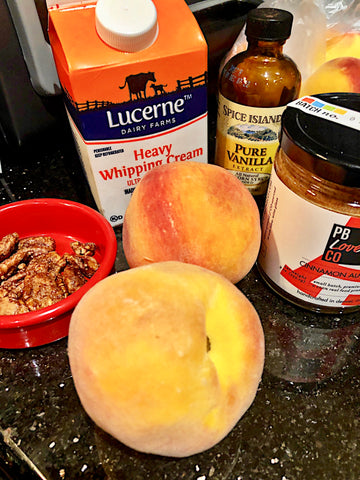 peaches-n-cream ingredients for recipe. made with cinnamon almond butter from the pb love company