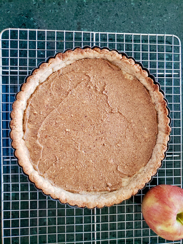 Healthy, fresh, stone-ground almond butter in your apple tart.