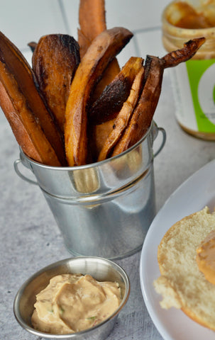 Sweet Potato French Fries - Thai Peanut Dipping Sauce - Crunchy Peanut Butter