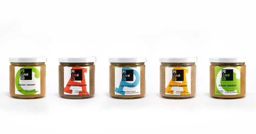 PB Love Co five full flavors jars image - Classic Creamy, Cinnamon Almond, Salty Peanut, Smooth Almond, and Classic Crunchy.
