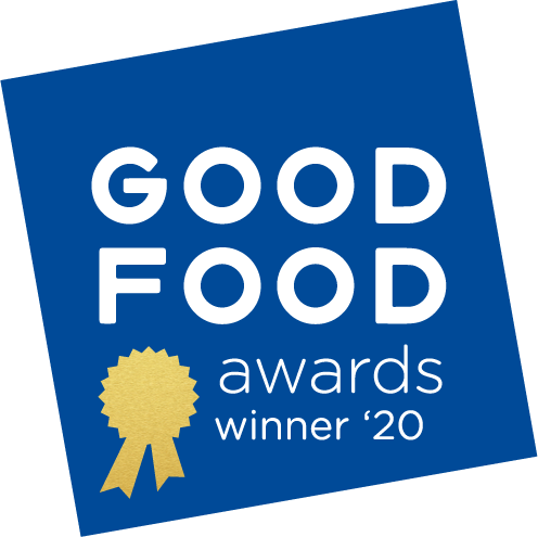 PB Love Co Cinnamon Almond Nut Butter named a Good Food Awards winner 2020, badge image.