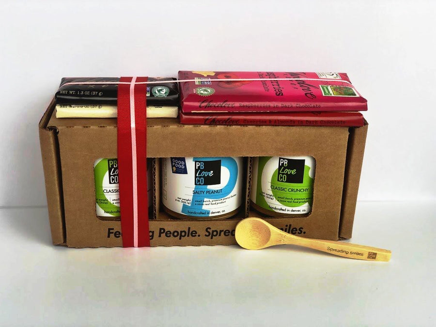 PB Love Co VDAY Lovers Box Set front box with 4 Chocolove bars and bamboo spoon image - Classic Creamy, Salty Peanut, and Classic Crunchy jars.