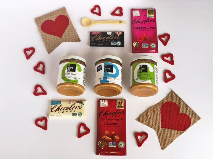PB Love Co VDAY Lovers Box Set with wooden spoon, 4 Chocolove bars, Classic Creamy, Salty Peanut, and Classic Crunchy image.