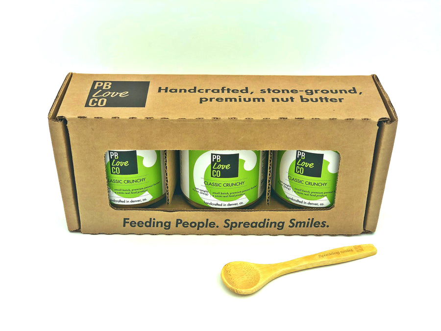 PB Love Co Gift Boxes 1 box with bamboo spoon image - 3 Classic Crunchy jars.
