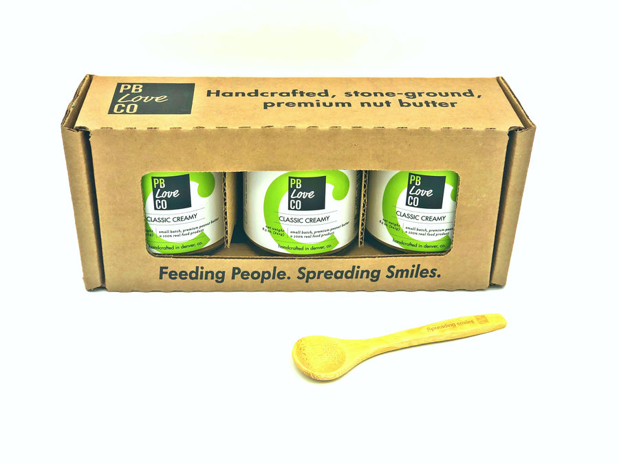 PB Love Co Gift Boxes 1 box with bamboo spoon image - 3 Classic Creamy jars.
