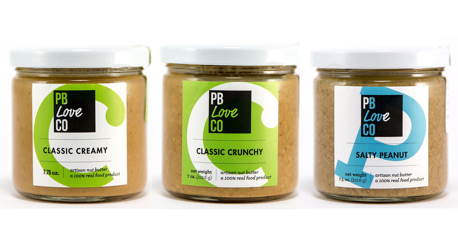 the pb love threesome. classic creamy peanut butter, classic crunchy peanut butter, salty peanut butter. handcrafted in denver, Colorado.