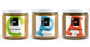 the pb love threesome. classic creamy peanut butter, salty peanut butter, cinnamon almond butter. peanut butter and almond butter handcrafted in denver, Colorado.