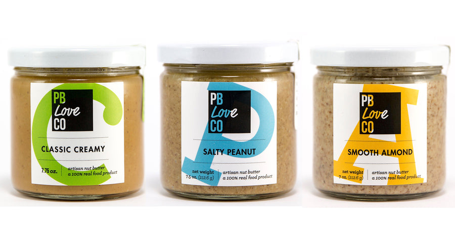the pb love threesome. classic creamy peanut butter, salty peanut butter, smooth almond butter. peanut butter and almond butter handcrafted in denver, Colorado.
