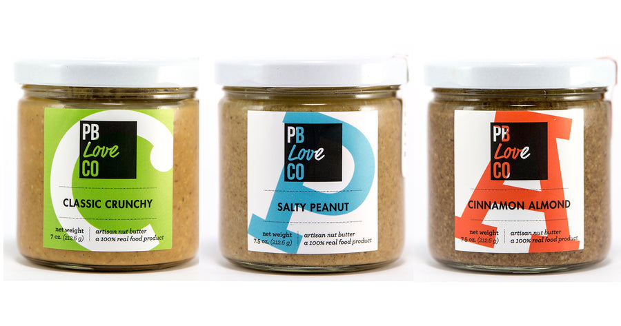 PB Love Co Threesomes three flavors jars image - Classic Crunchy, Salty Peanut, and Cinnamon Almond.