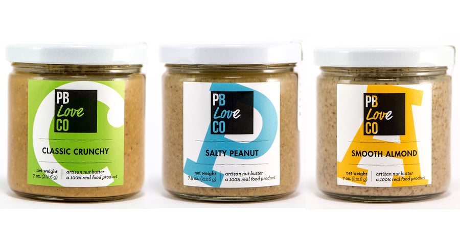 PB Love Co Threesomes three flavors jars image - Classic Crunchy, Salty Peanut, and Smooth Almond.