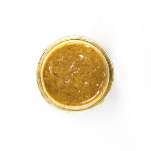 PB Love Co Salty Peanut Nut Butter open jar top view image.