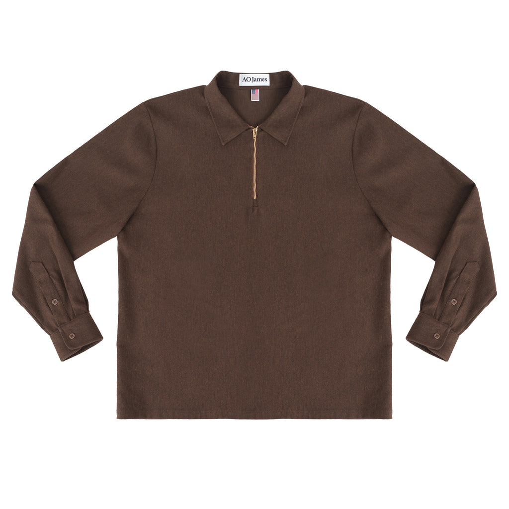 Zip Polo L/S - Brown