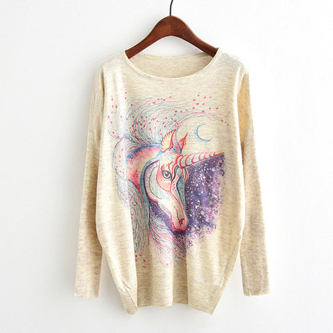 Woman's Long Sleeve knitted Unicorn Sweater