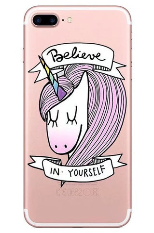 """Believe in yourself - Girlie"" Unicorn iPhone case"