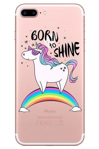 """Born to Shine"" Unicorn iPhone case"