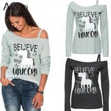 """Believe in Magic"" Unicorn Print - Women Casual Long Sleeve One Shoulder Shirt"