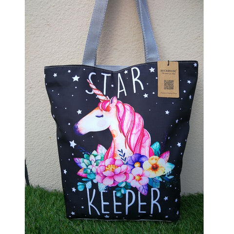 """Star Keeper"" Unicorn Canvas Shoulder Tote Bag"