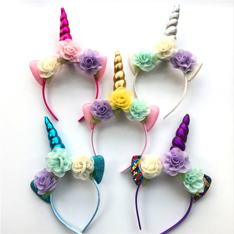 Glitter and Metallic Unicorn Horn Headband - Party Hair Accessory