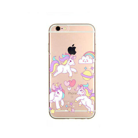 """Pastel Rainbow Unicorn Party"" Clear Unicorn iPhone case"
