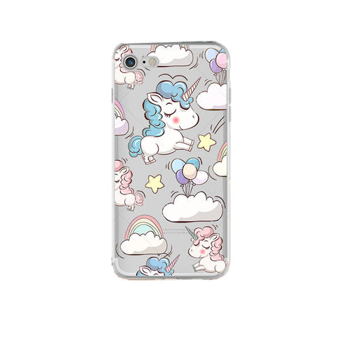 """Cartoon Unicorn and Clouds"" Clear Unicorn iPhone case"