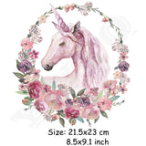 Watercolor Floral Unicorn Iron-On Transfer Patches