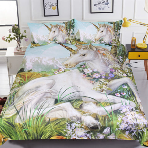 3 Piece Set - 3D Flowers and Unicorn Bedding Set